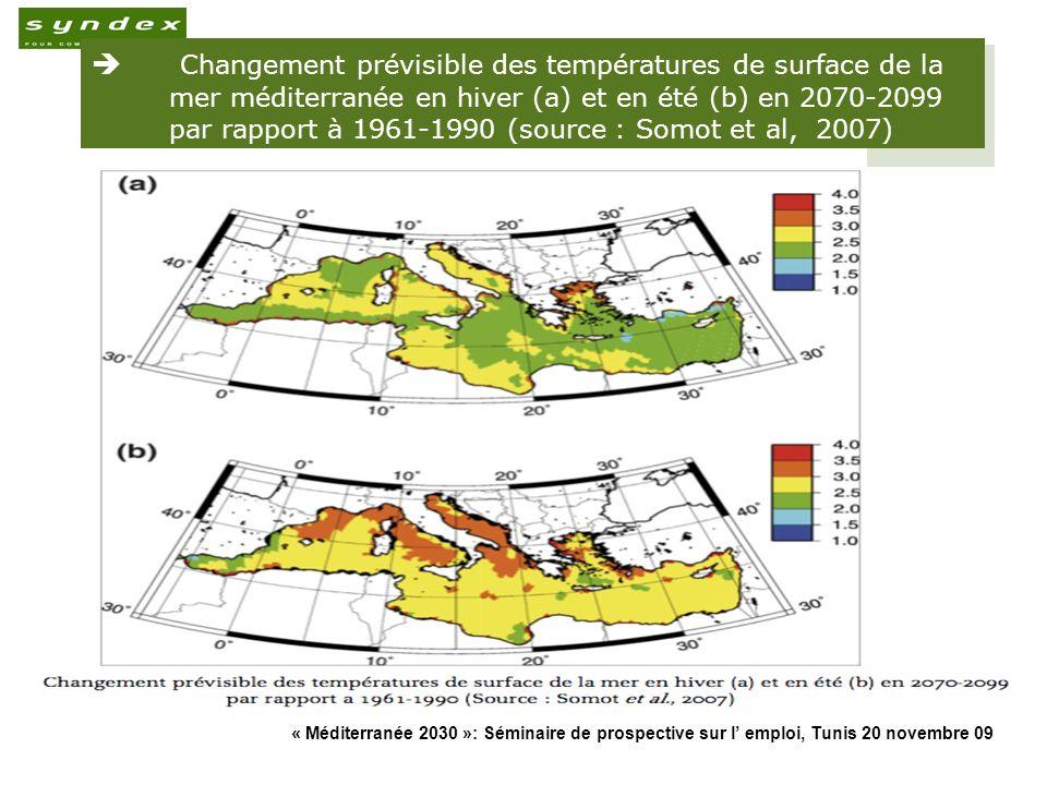 « Méditerranée 2030 »: Séminaire de prospective sur l emploi, Tunis 20 novembre 09 13 Changement prévisible des températures de surface de la mer médi