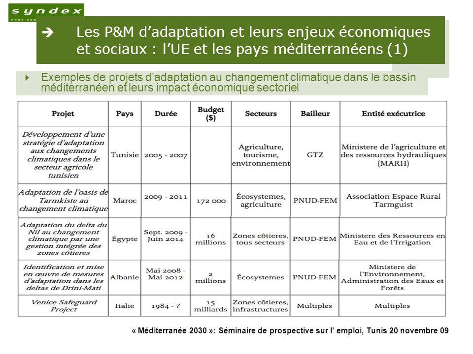 « Méditerranée 2030 »: Séminaire de prospective sur l emploi, Tunis 20 novembre 09 16 Les P&M dadaptation et leurs enjeux économiques et sociaux : lUE