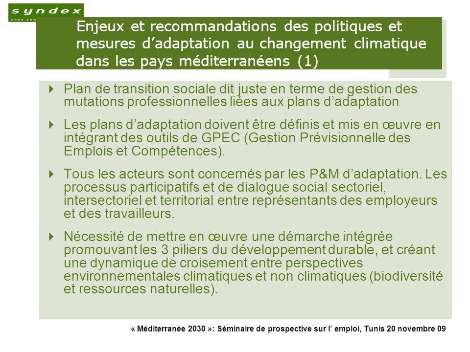 « Méditerranée 2030 »: Séminaire de prospective sur l emploi, Tunis 20 novembre 09 18 Enjeux et recommandations des politiques et mesures dadaptation