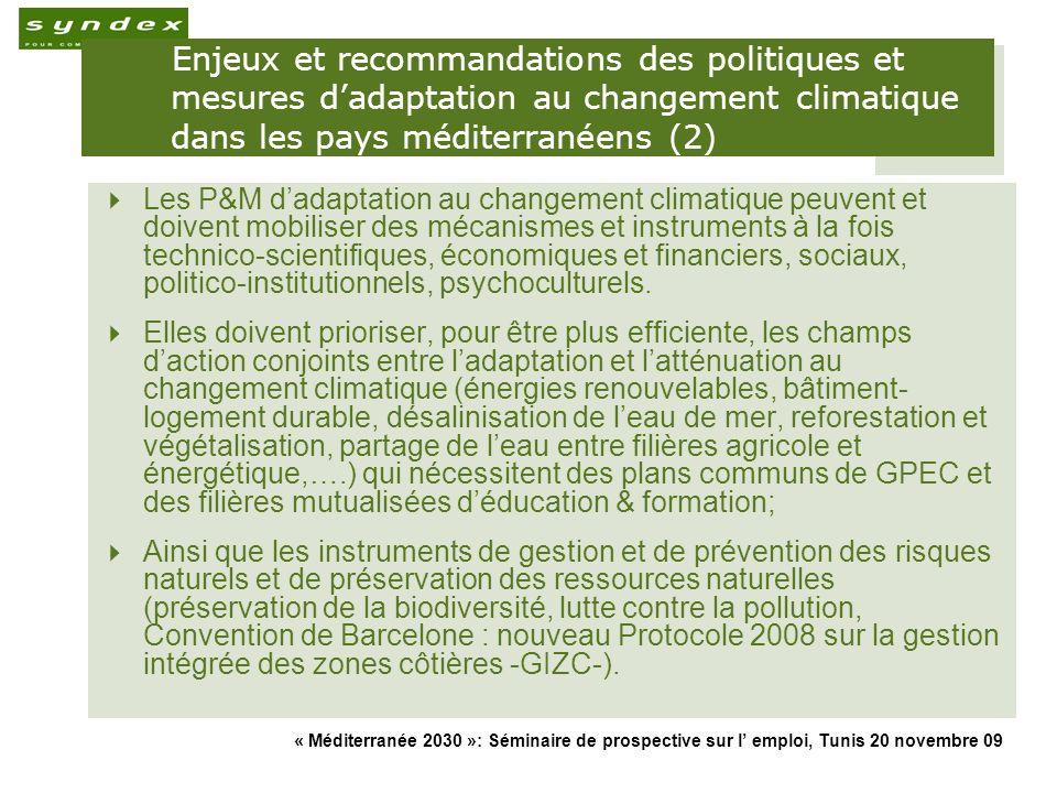 « Méditerranée 2030 »: Séminaire de prospective sur l emploi, Tunis 20 novembre 09 19 Enjeux et recommandations des politiques et mesures dadaptation