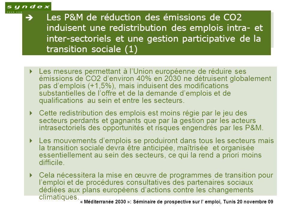 « Méditerranée 2030 »: Séminaire de prospective sur l emploi, Tunis 20 novembre 09 20 Les P&M de réduction des émissions de CO2 induisent une redistri