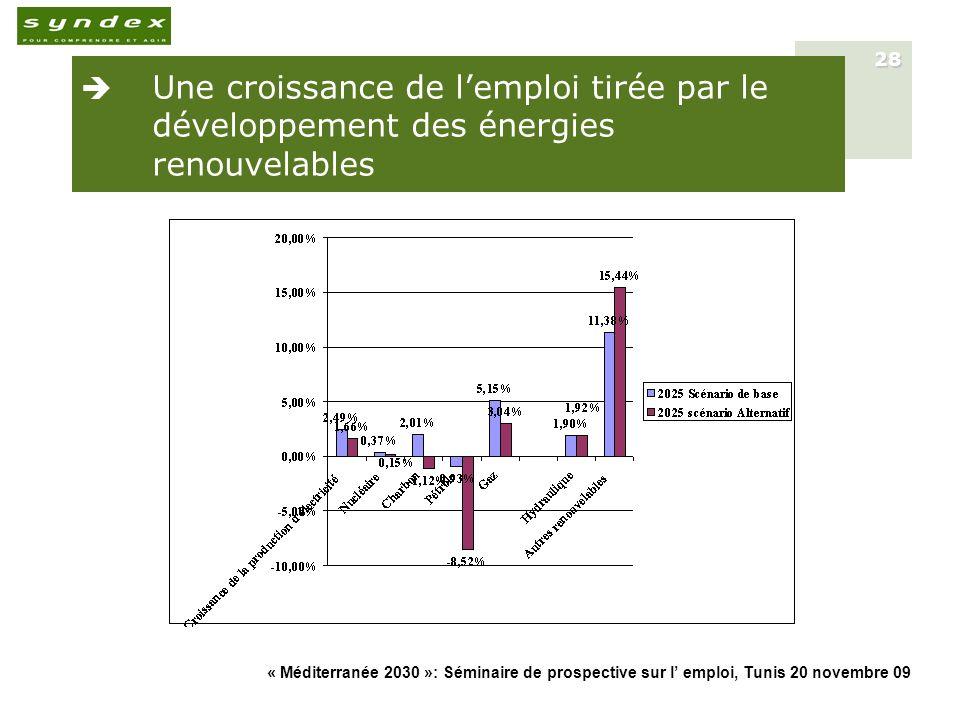« Méditerranée 2030 »: Séminaire de prospective sur l emploi, Tunis 20 novembre 09 28 Une croissance de lemploi tirée par le développement des énergie
