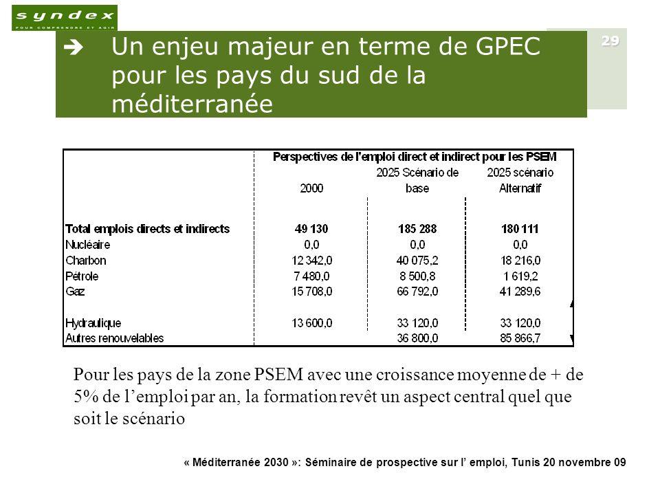 « Méditerranée 2030 »: Séminaire de prospective sur l emploi, Tunis 20 novembre 09 29 Un enjeu majeur en terme de GPEC pour les pays du sud de la médi