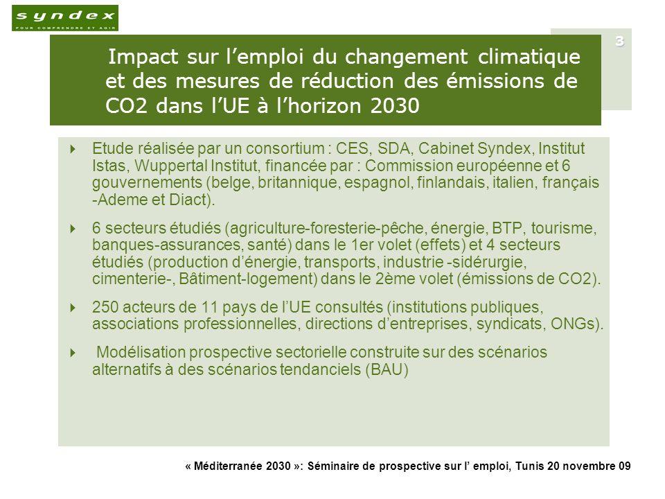 « Méditerranée 2030 »: Séminaire de prospective sur l emploi, Tunis 20 novembre 09 4 Etude structurée en 3 parties + annexes Evaluation de limpact quantitatif et qualitatif sur lemploi des effets du changement climatique au niveau sectoriel et par zone géographique de lUE.