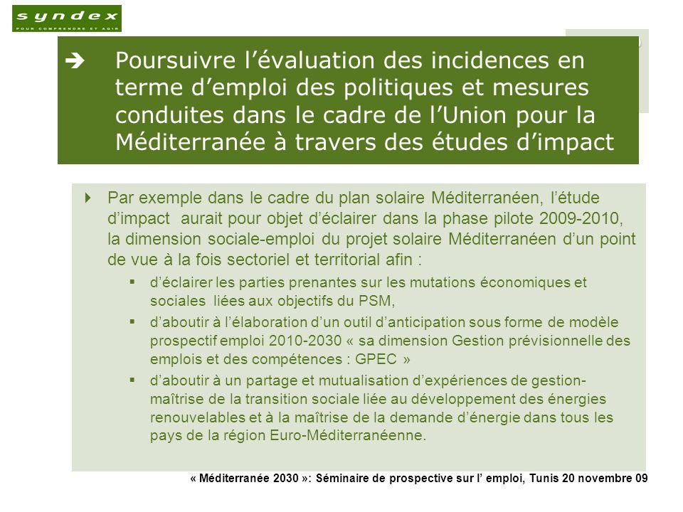 « Méditerranée 2030 »: Séminaire de prospective sur l emploi, Tunis 20 novembre 09 30 Poursuivre lévaluation des incidences en terme demploi des polit