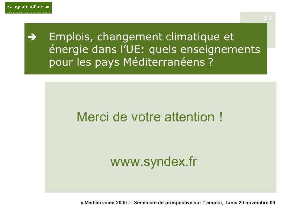 « Méditerranée 2030 »: Séminaire de prospective sur l emploi, Tunis 20 novembre 09 33 Emplois, changement climatique et énergie dans lUE: quels enseig