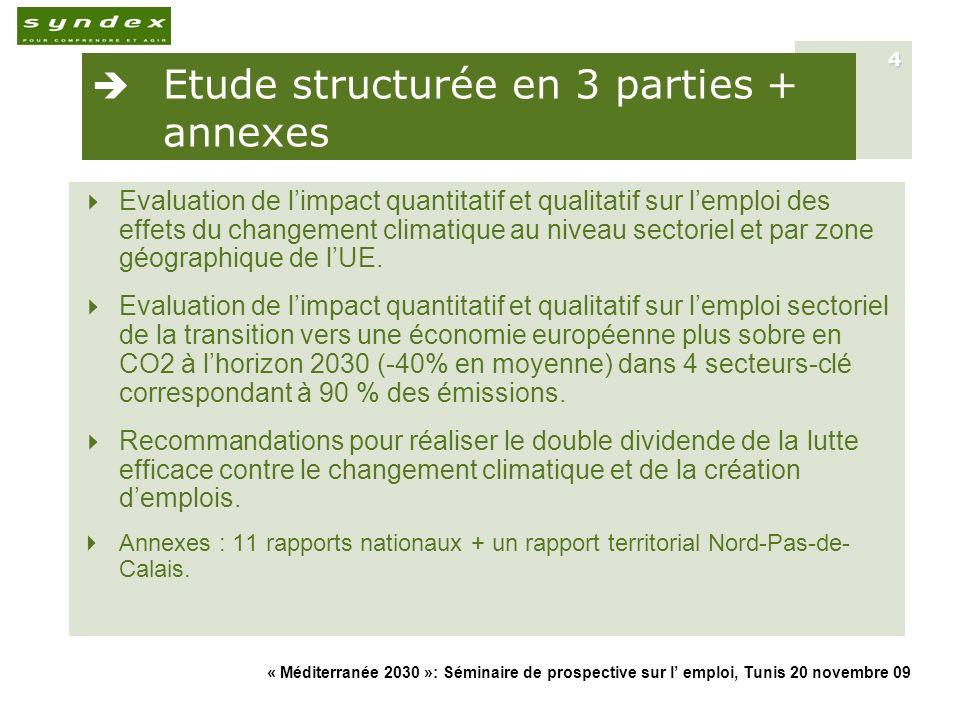 « Méditerranée 2030 »: Séminaire de prospective sur l emploi, Tunis 20 novembre 09 4 Etude structurée en 3 parties + annexes Evaluation de limpact qua