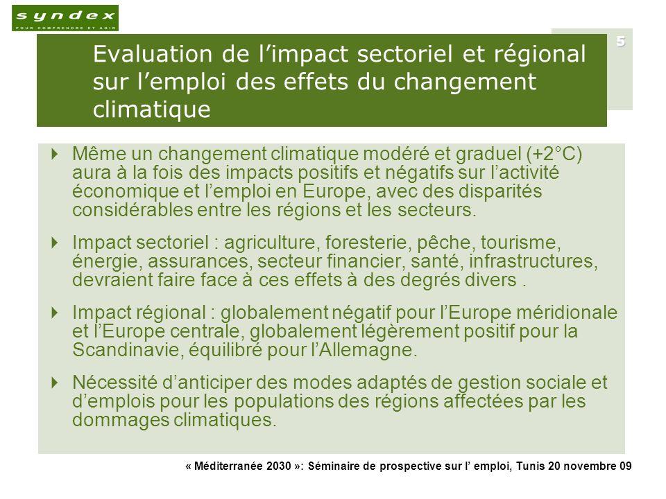 « Méditerranée 2030 »: Séminaire de prospective sur l emploi, Tunis 20 novembre 09 16 Les P&M dadaptation et leurs enjeux économiques et sociaux : lUE et les pays méditerranéens (1) Exemples de projets dadaptation au changement climatique dans le bassin méditerranéen et leurs impact économique sectoriel