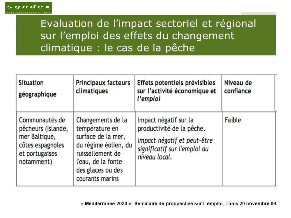 « Méditerranée 2030 »: Séminaire de prospective sur l emploi, Tunis 20 novembre 09 8 Evaluation de limpact sectoriel et régional sur lemploi des effets du changement climatique : le cas du Tourisme