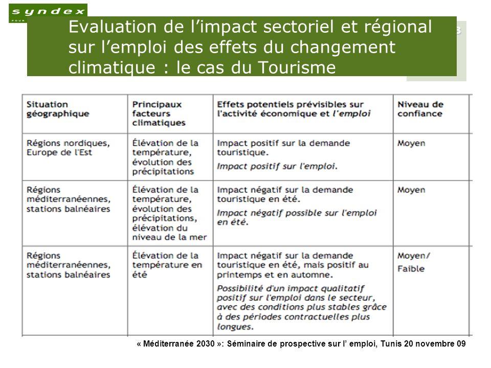 « Méditerranée 2030 »: Séminaire de prospective sur l emploi, Tunis 20 novembre 09 8 Evaluation de limpact sectoriel et régional sur lemploi des effet