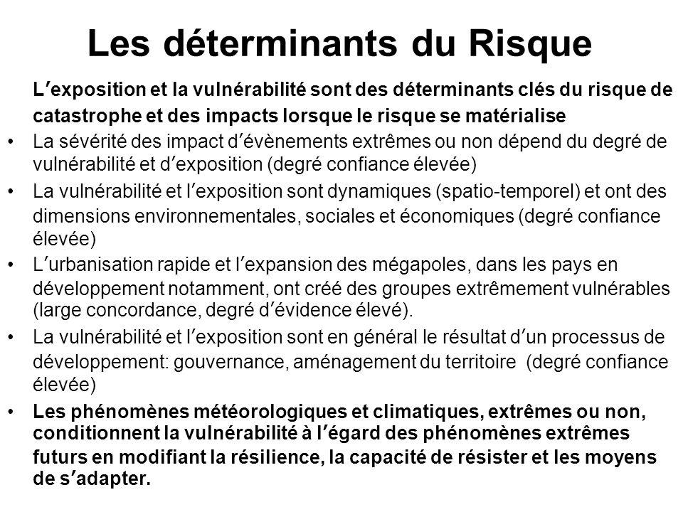 Les déterminants du Risque Lexposition et la vulnérabilité sont des déterminants clés du risque de catastrophe et des impacts lorsque le risque se mat