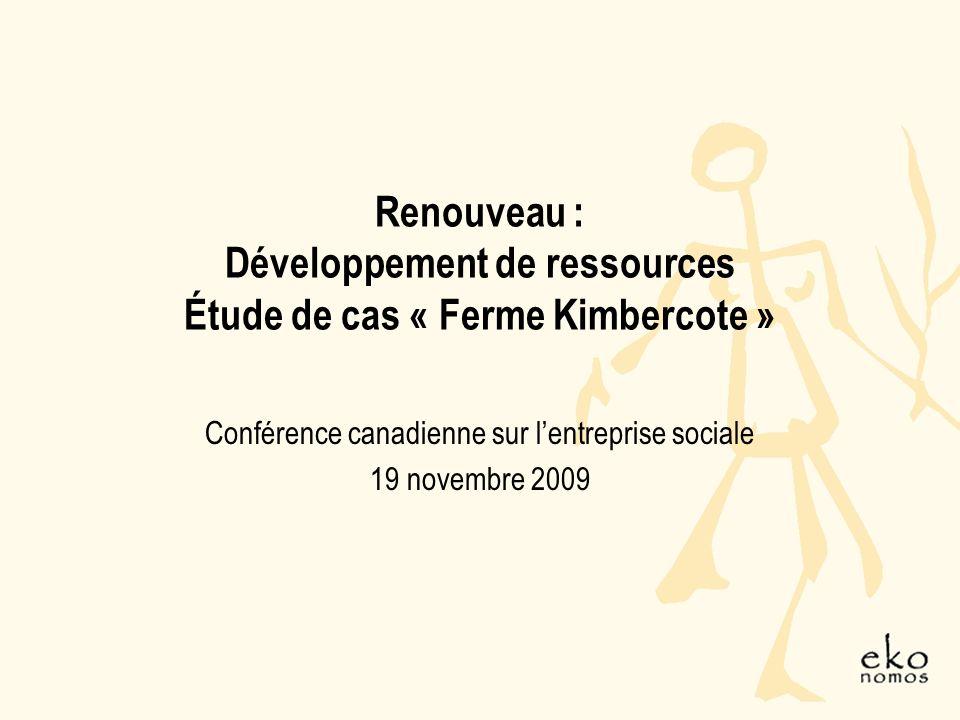 Renouveau : Développement de ressources Étude de cas « Ferme Kimbercote » Conférence canadienne sur lentreprise sociale 19 novembre 2009
