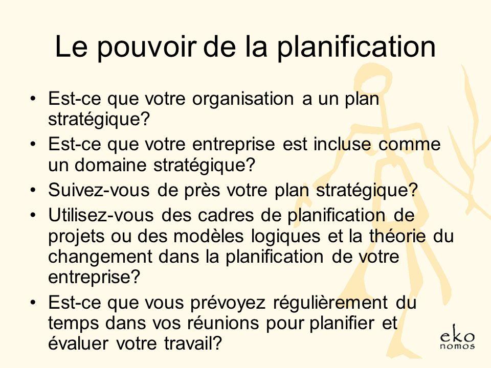 Le pouvoir de la planification Est-ce que votre organisation a un plan stratégique.