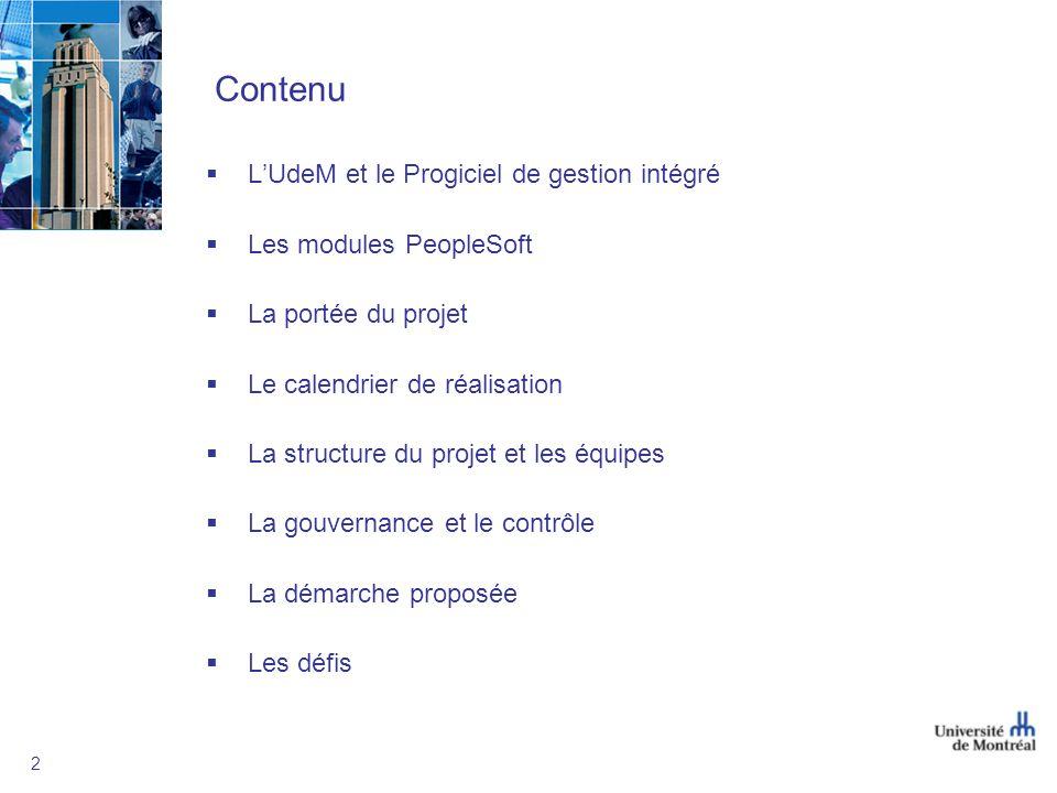 2 Contenu LUdeM et le Progiciel de gestion intégré Les modules PeopleSoft La portée du projet Le calendrier de réalisation La structure du projet et les équipes La gouvernance et le contrôle La démarche proposée Les défis