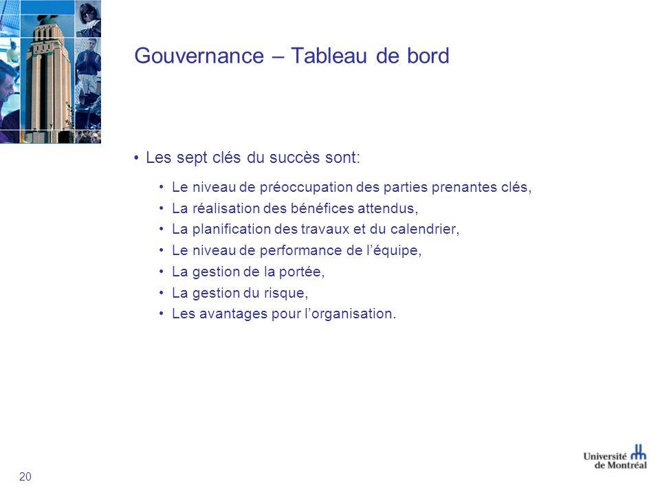 20 Gouvernance – Tableau de bord Les sept clés du succès sont: Le niveau de préoccupation des parties prenantes clés, La réalisation des bénéfices att
