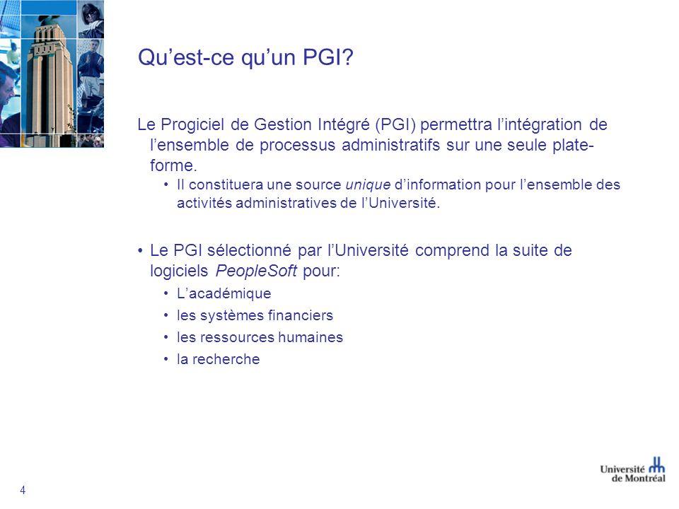 4 Quest-ce quun PGI? Le Progiciel de Gestion Intégré (PGI) permettra lintégration de lensemble de processus administratifs sur une seule plate- forme.