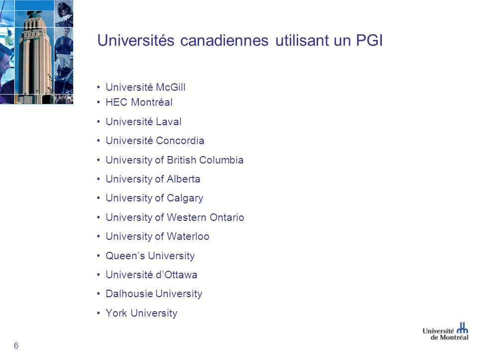 6 Universités canadiennes utilisant un PGI Université McGill HEC Montréal Université Laval Université Concordia University of British Columbia University of Alberta University of Calgary University of Western Ontario University of Waterloo Queens University Université dOttawa Dalhousie University York University
