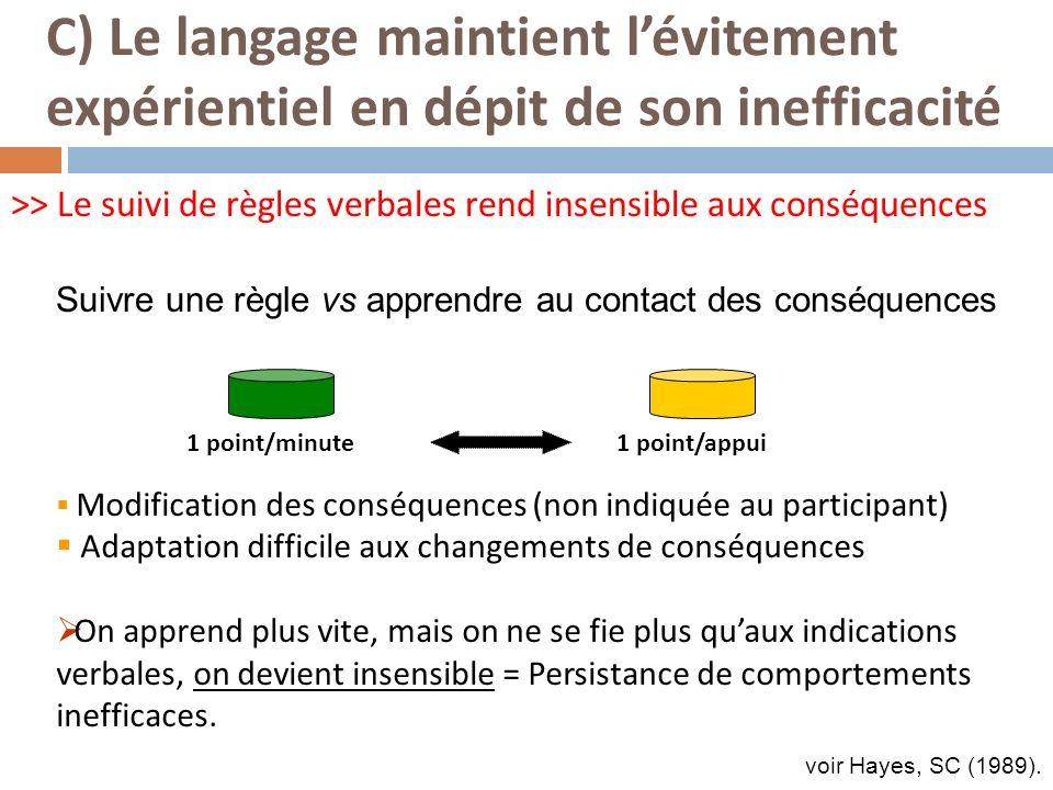 >> Le suivi de règles verbales rend insensible aux conséquences Modification des conséquences (non indiquée au participant) Adaptation difficile aux c