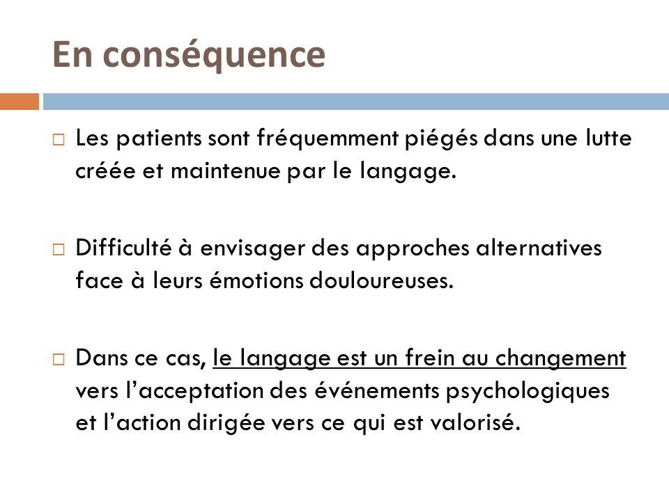 En conséquence Les patients sont fréquemment piégés dans une lutte créée et maintenue par le langage. Difficulté à envisager des approches alternative