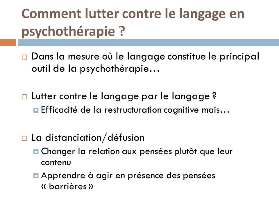 Comment lutter contre le langage en psychothérapie ? Dans la mesure où le langage constitue le principal outil de la psychothérapie… Lutter contre le