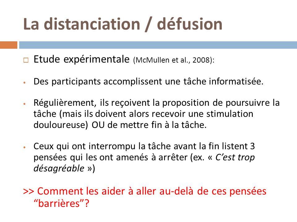 La distanciation / défusion Etude expérimentale (McMullen et al., 2008): Des participants accomplissent une tâche informatisée. Régulièrement, ils reç