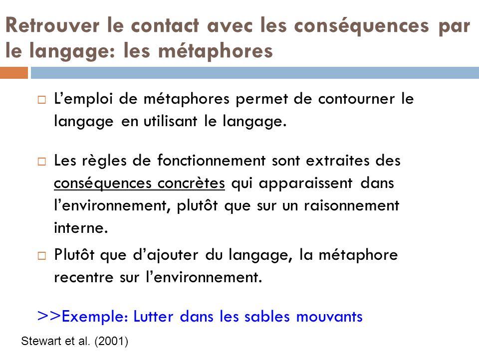 Retrouver le contact avec les conséquences par le langage: les métaphores Lemploi de métaphores permet de contourner le langage en utilisant le langage.