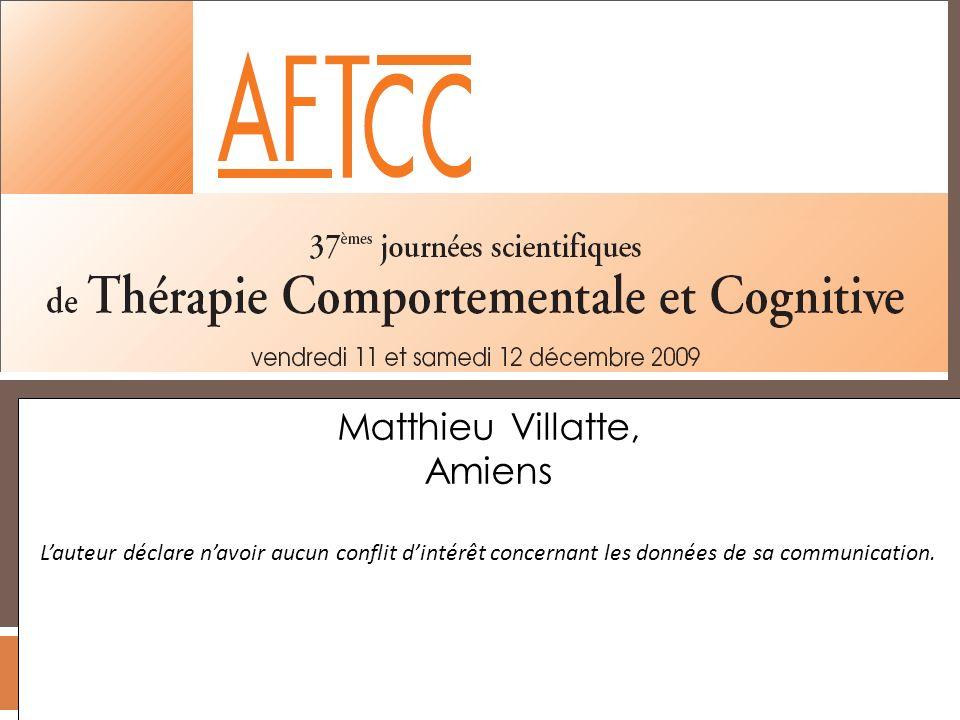 Matthieu Villatte, Amiens Lauteur déclare navoir aucun conflit dintérêt concernant les données de sa communication.