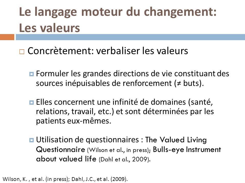 Le langage moteur du changement: Les valeurs Concrètement: verbaliser les valeurs Formuler les grandes directions de vie constituant des sources inépuisables de renforcement ( buts).