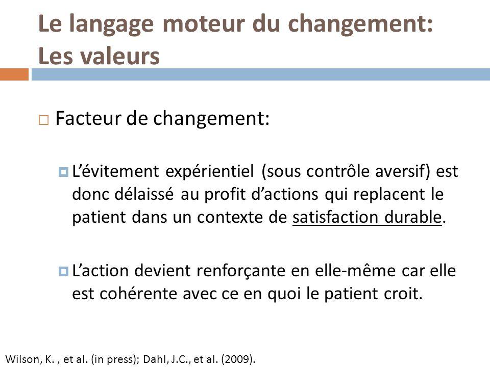 Le langage moteur du changement: Les valeurs Facteur de changement: Lévitement expérientiel (sous contrôle aversif) est donc délaissé au profit dactio