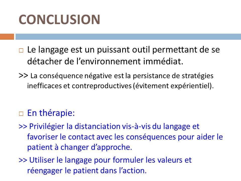 CONCLUSION Le langage est un puissant outil permettant de se détacher de lenvironnement immédiat. >> La conséquence négative est la persistance de str