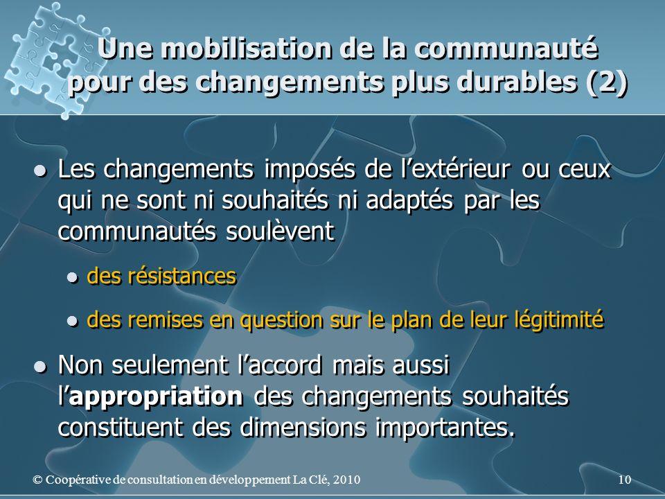 Une mobilisation de la communauté pour des changements plus durables (2) Les changements imposés de lextérieur ou ceux qui ne sont ni souhaités ni ada