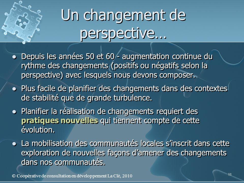 Un changement de perspective… © Coopérative de consultation en développement La Clé, 2010 11 Depuis les années 50 et 60 - augmentation continue du rythme des changements (positifs ou négatifs selon la perspective) avec lesquels nous devons composer.