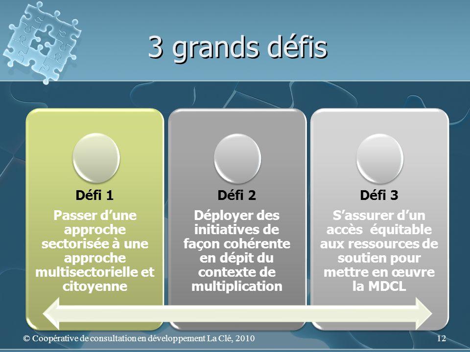 3 grands défis Défi 1 Passer dune approche sectorisée à une approche multisectorielle et citoyenne Défi 2 Déployer des initiatives de façon cohérente