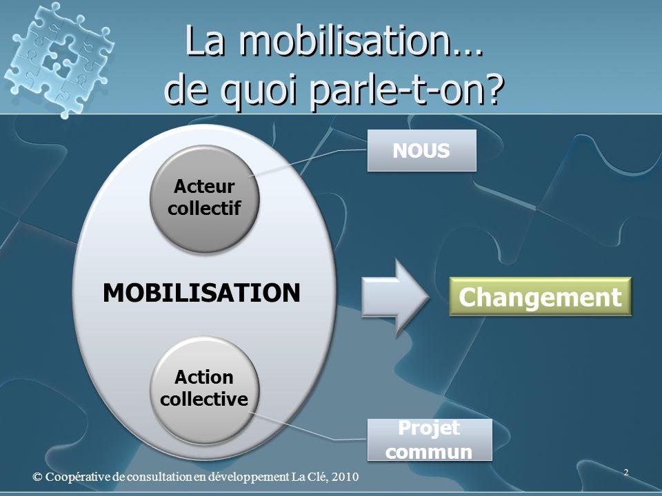 La mobilisation… de quoi parle-t-on? © Coopérative de consultation en développement La Clé, 2010 2 MOBILISATION Acteur collectif Action collective Cha