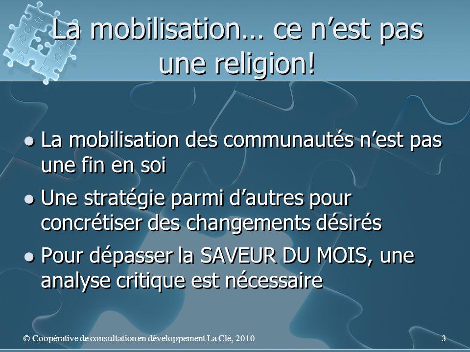 La mobilisation… ce nest pas une religion! La mobilisation des communautés nest pas une fin en soi Une stratégie parmi dautres pour concrétiser des ch