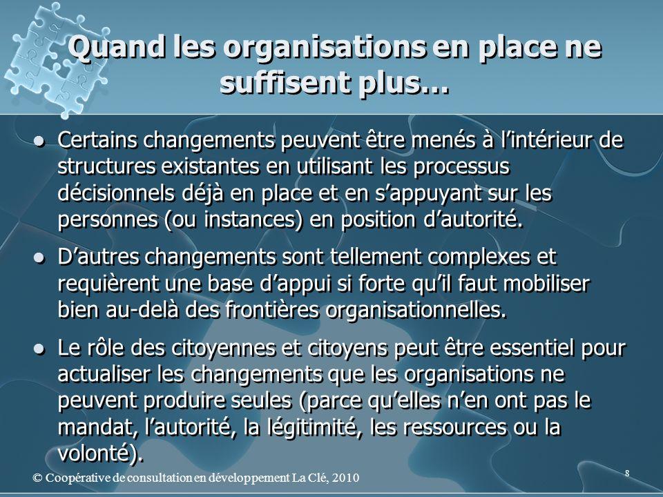 Quand les organisations en place ne suffisent plus… © Coopérative de consultation en développement La Clé, 2010 8 Certains changements peuvent être me