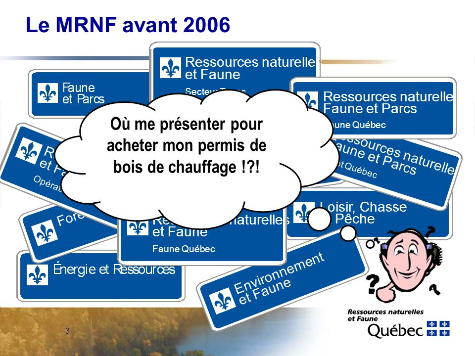 2 Plan de présentation Le MRNF avant 2006 Les vents de changement Limplantation des DGR Lavenir