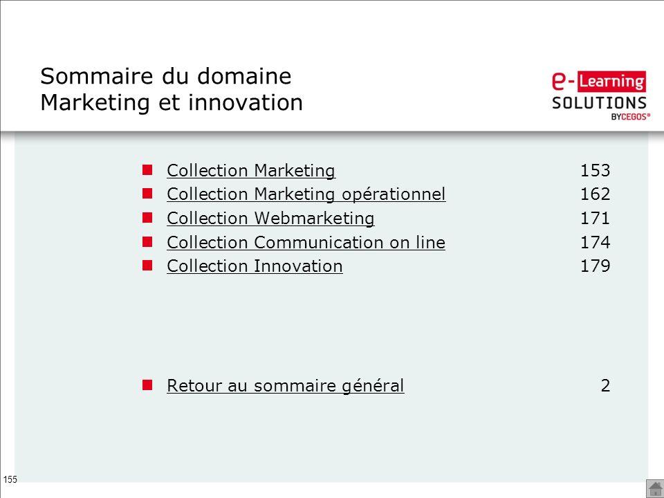 155 Sommaire du domaine Marketing et innovation Collection MarketingCollection Marketing153 Collection Marketing opérationnelCollection Marketing opér