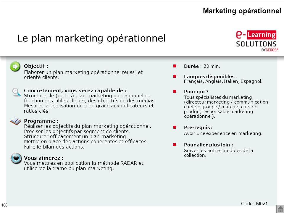 166 Le plan marketing opérationnel Code : M021 Objectif : Élaborer un plan marketing opérationnel réussi et orienté clients. Concrètement, vous serez