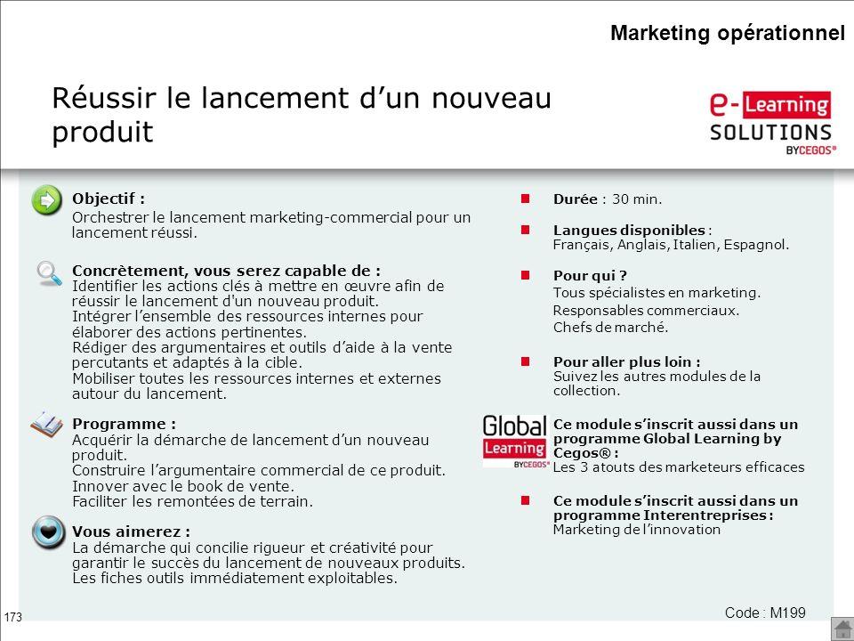 173 Réussir le lancement dun nouveau produit Code : M199 Objectif : Orchestrer le lancement marketing-commercial pour un lancement réussi. Concrètemen
