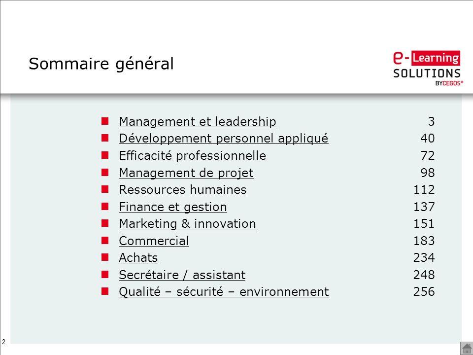 2 Sommaire général Management et leadershipManagement et leadership3 Développement personnel appliquéDéveloppement personnel appliqué40 Efficacité pro