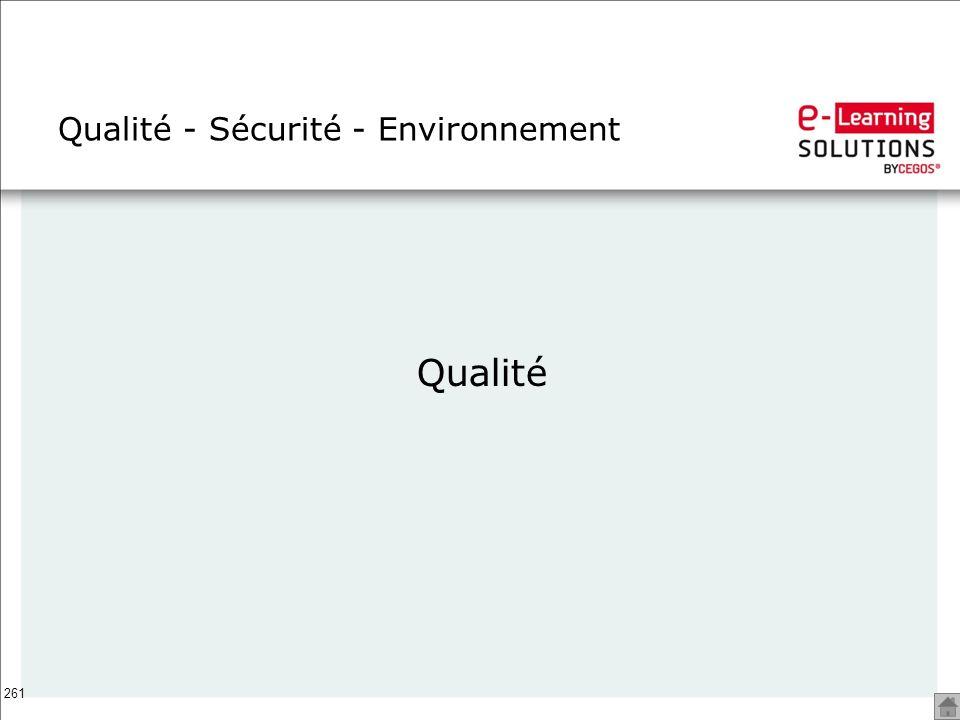 261 Qualité - Sécurité - Environnement Qualité