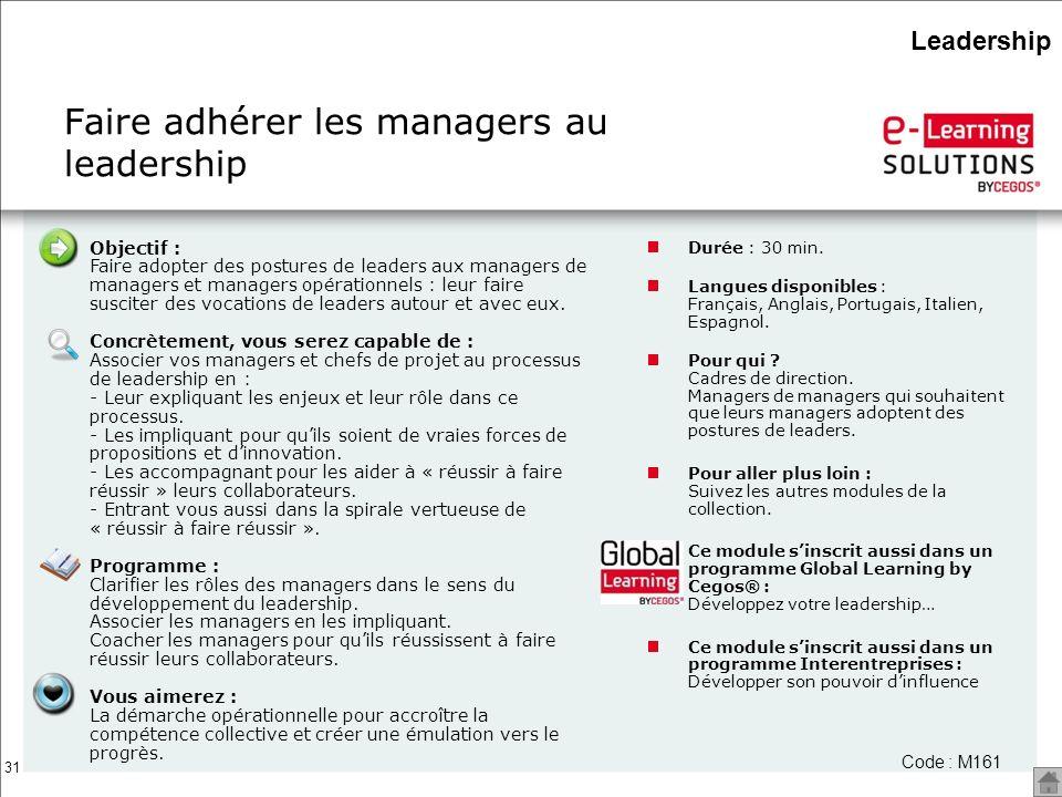 31 Objectif : Faire adopter des postures de leaders aux managers de managers et managers opérationnels : leur faire susciter des vocations de leaders