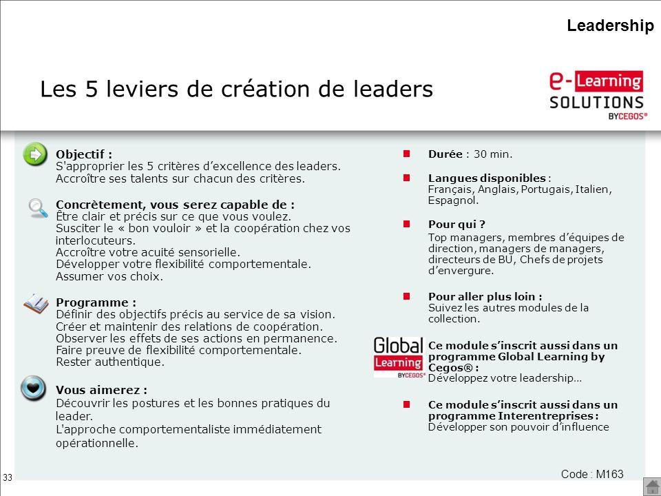 33 Objectif : S'approprier les 5 critères dexcellence des leaders. Accroître ses talents sur chacun des critères. Concrètement, vous serez capable de