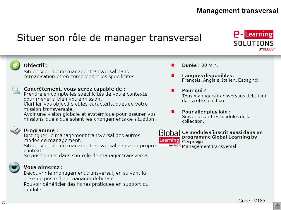 35 Objectif : Situer son rôle de manager transversal dans lorganisation et en comprendre les spécificités. Concrètement, vous serez capable de : Prend