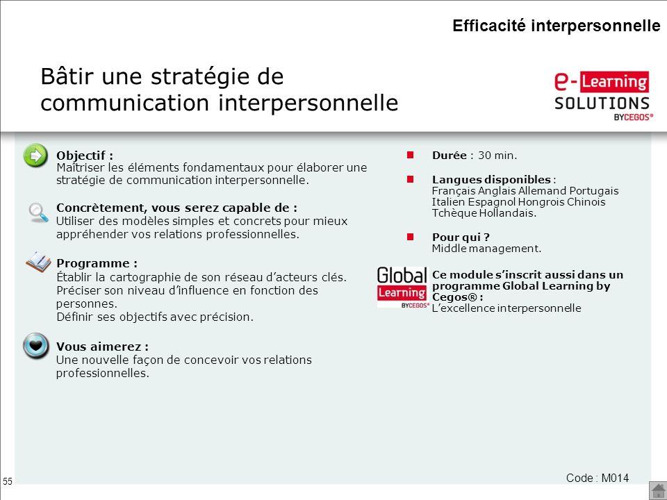 55 Bâtir une stratégie de communication interpersonnelle Durée : 30 min. Langues disponibles : Français Anglais Allemand Portugais Italien Espagnol Ho