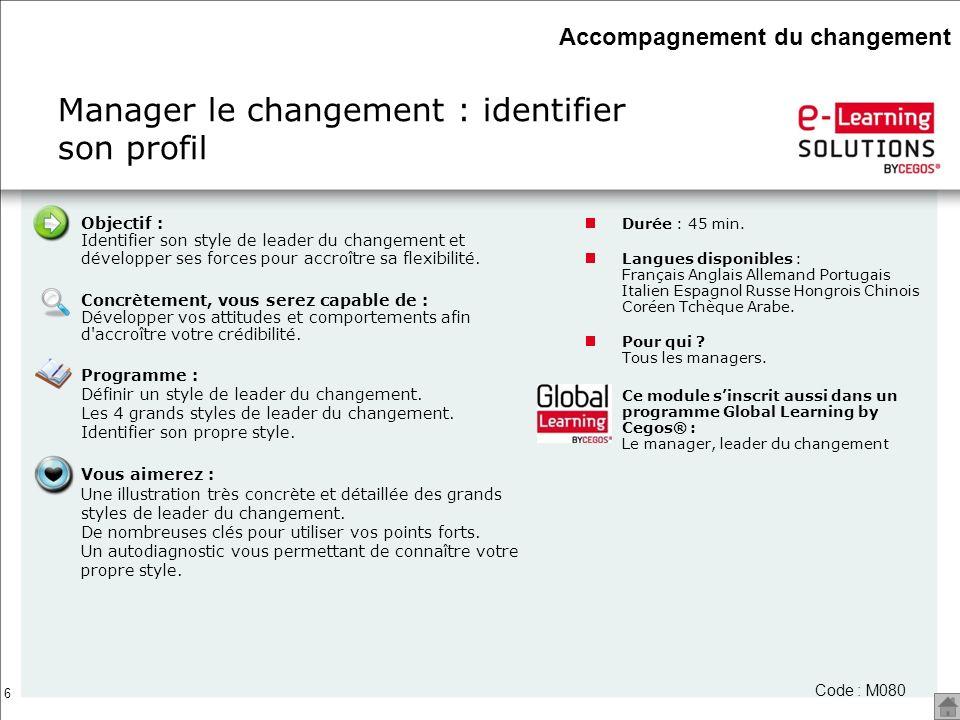 6 Manager le changement : identifier son profil Accompagnement du changement Durée : 45 min. Langues disponibles : Français Anglais Allemand Portugais