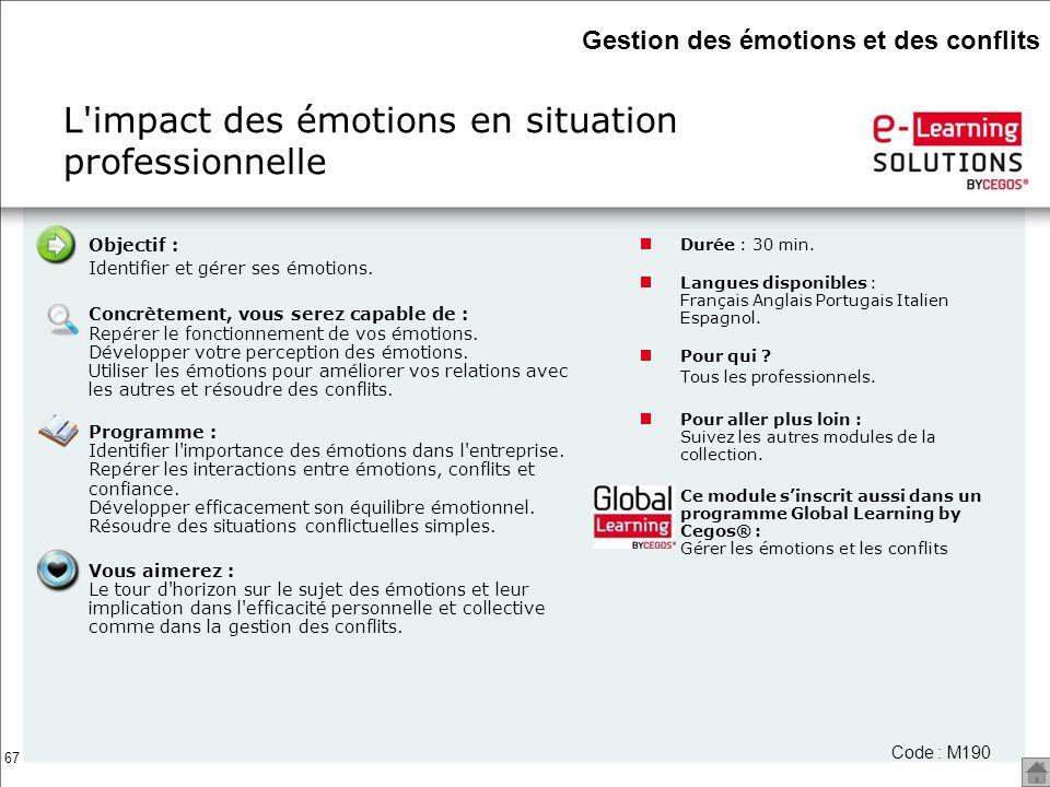 67 Objectif : Identifier et gérer ses émotions. Concrètement, vous serez capable de : Repérer le fonctionnement de vos émotions. Développer votre perc
