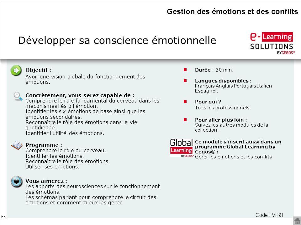 68 Objectif : Avoir une vision globale du fonctionnement des émotions. Concrètement, vous serez capable de : Comprendre le rôle fondamental du cerveau
