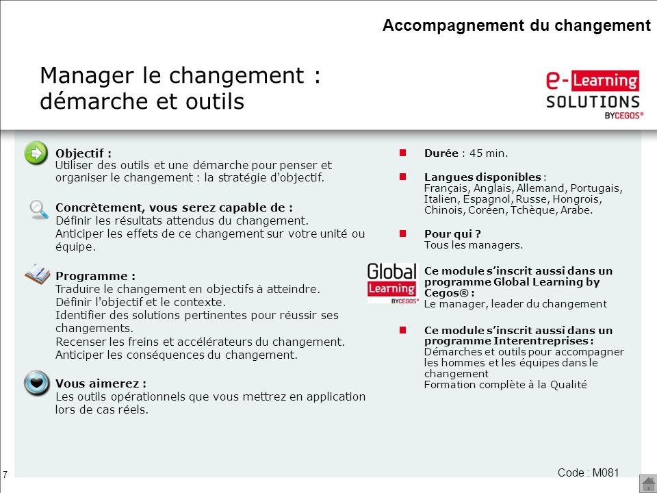7 Manager le changement : démarche et outils Durée : 45 min. Langues disponibles : Français, Anglais, Allemand, Portugais, Italien, Espagnol, Russe, H